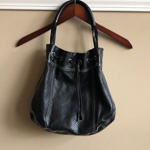 Prada EUC Perforated Black Leather Handle Handbag